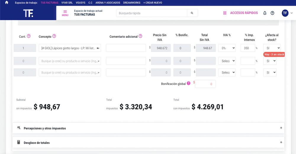 TusFacturas.app: Aplicá bonificaciones